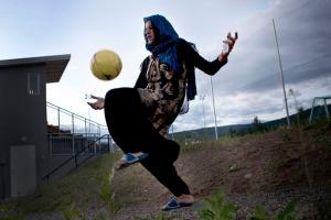 Die afghanische Frauenfussball-Nationalmannschaft beim Norway Cup 2011.